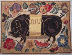 Pig french knot rug by Pat Hartman