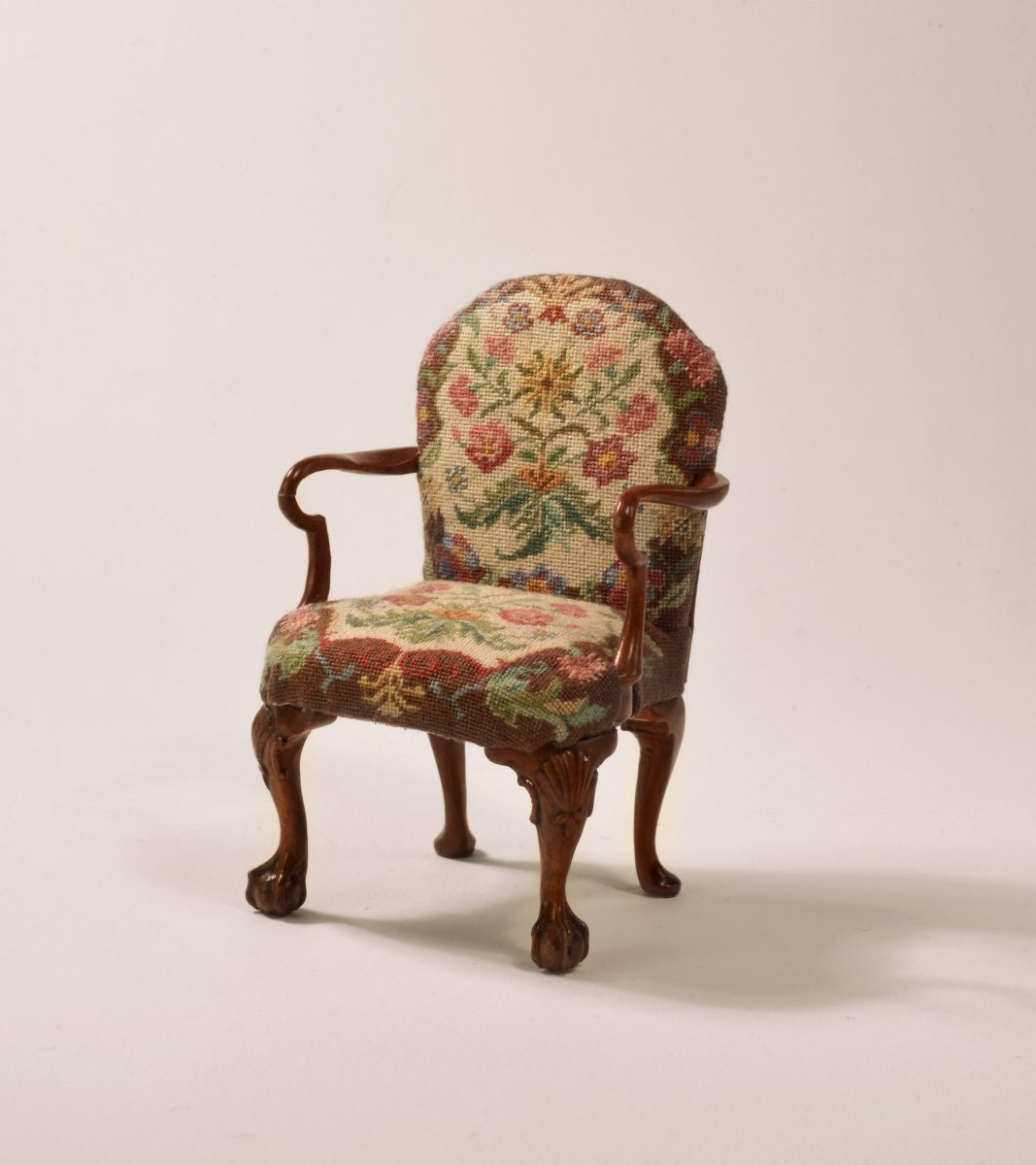 Petit point upholstery chair by Sue Baker & John Hodgson