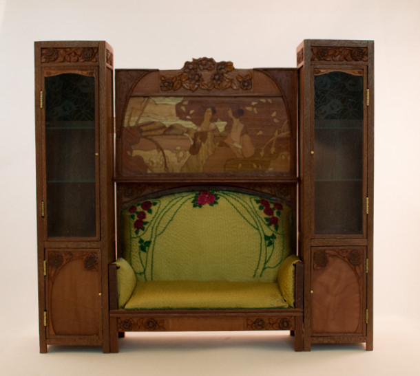 Art nouveau sofa with cabinets by Victoria Morozova.