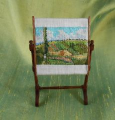 Petit Point Camille Pissarro Painting on Tapestry Frame by  Judy Spadoni