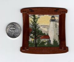 Hand Framed Petitpoint of Dice Head Lighthouse in Castine, ME by Missy Boling