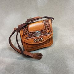Hand-tooled Celtic Leather Bag (front) by Deb Mackie