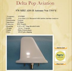 UAT Blade Antenna DeltaPop ADS B In And OUT
