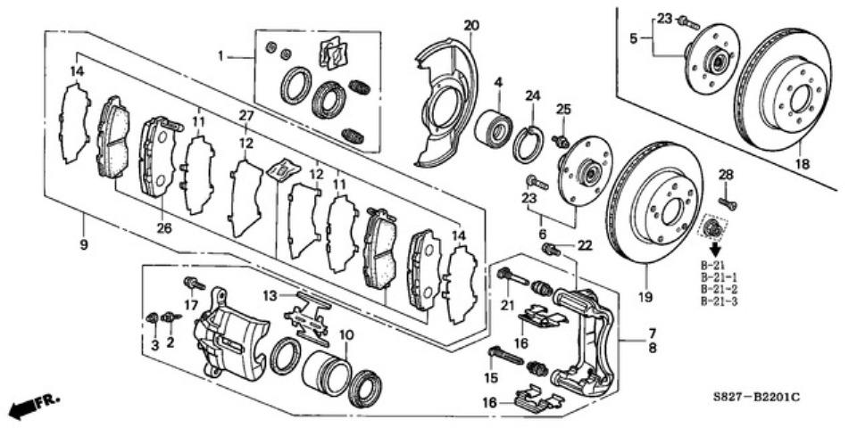 98 02 Accord Coupe 3 0 V6 Braking System Part Numbers
