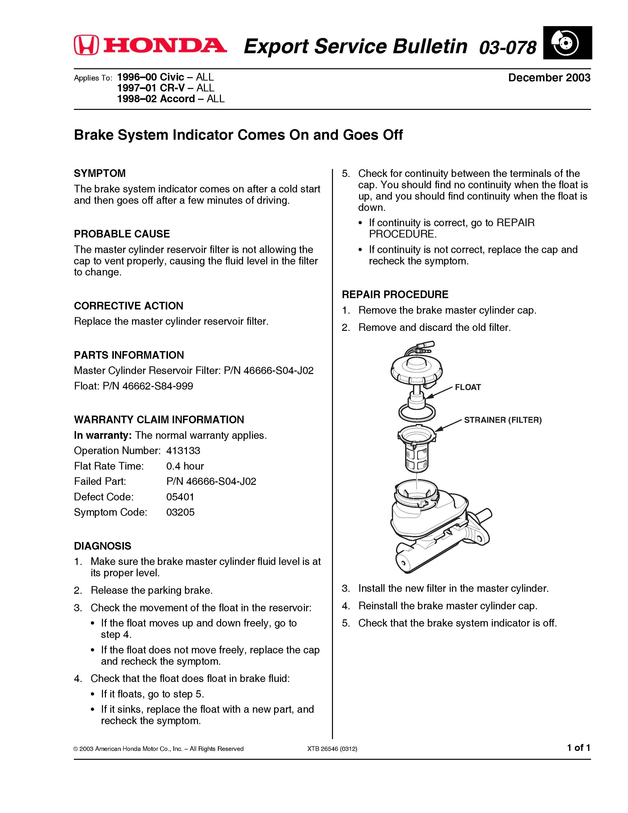 Honda Accord: Brake System Indicator