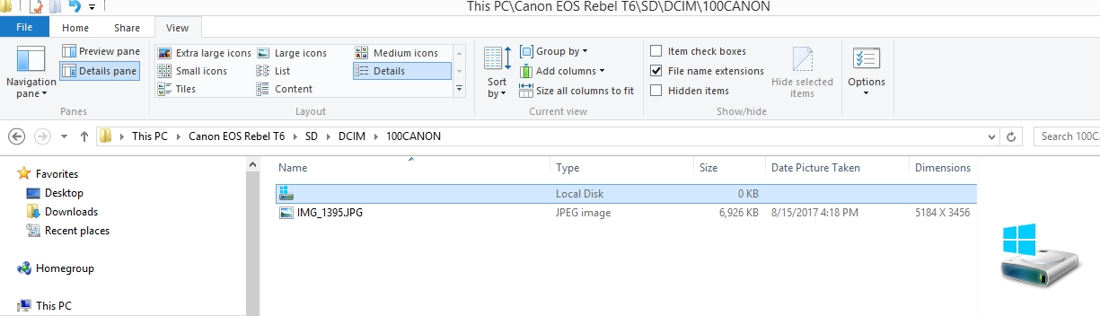 T6 CR2 files show as