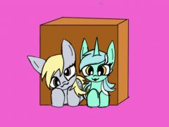 Derpy and Lyra and a box