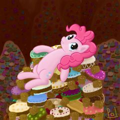 Pinkie Pie on the mountain of sweets