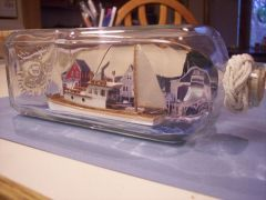 Lobster boat in a bottle
