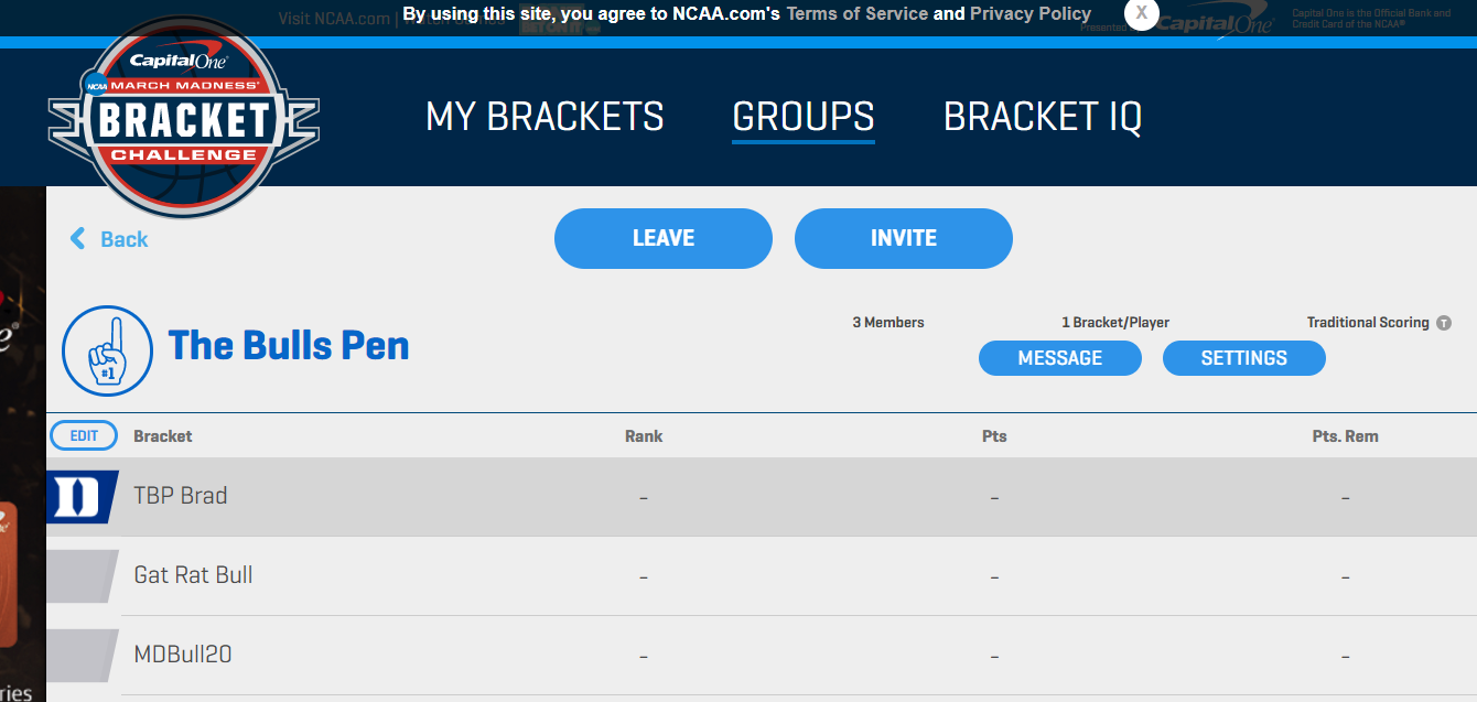TBP NCAA Bracket Contest