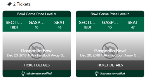 Two tickets to Gasparilla Bowl, USF vs. Marshall