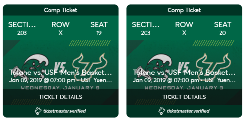 Two tickets to Tulane at South Florida