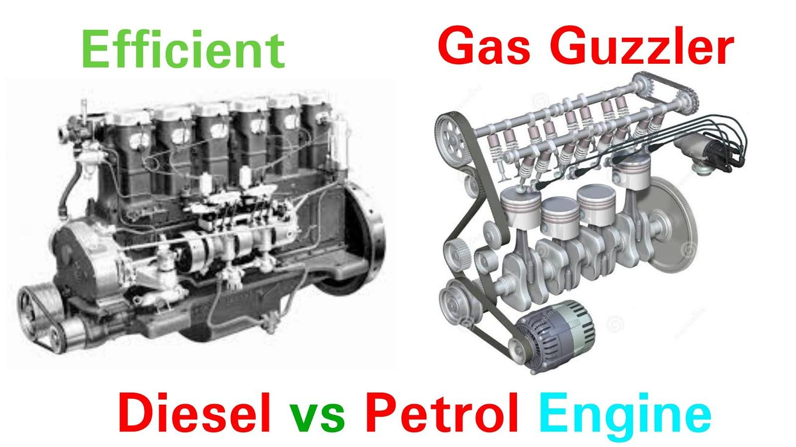 Which has more efficiency: Diesel engine or Petrol engines? please give reason for same.