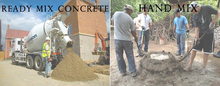 EXPLAIN THE  HAND MIXING CONCRETE AND MACHINE MIXING CONCRETE