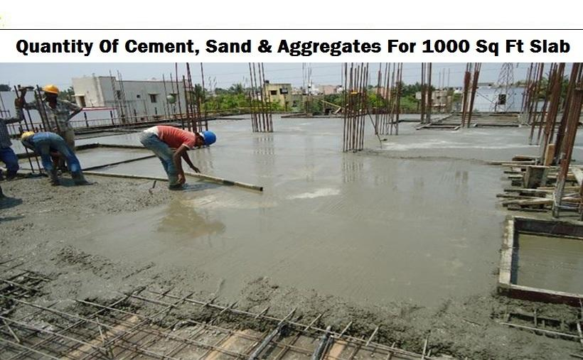 WHAT ARE THE QUANTITY OF CEMENT, SAND, & AGGREGATES FOR 1000 SQ FT SLAB