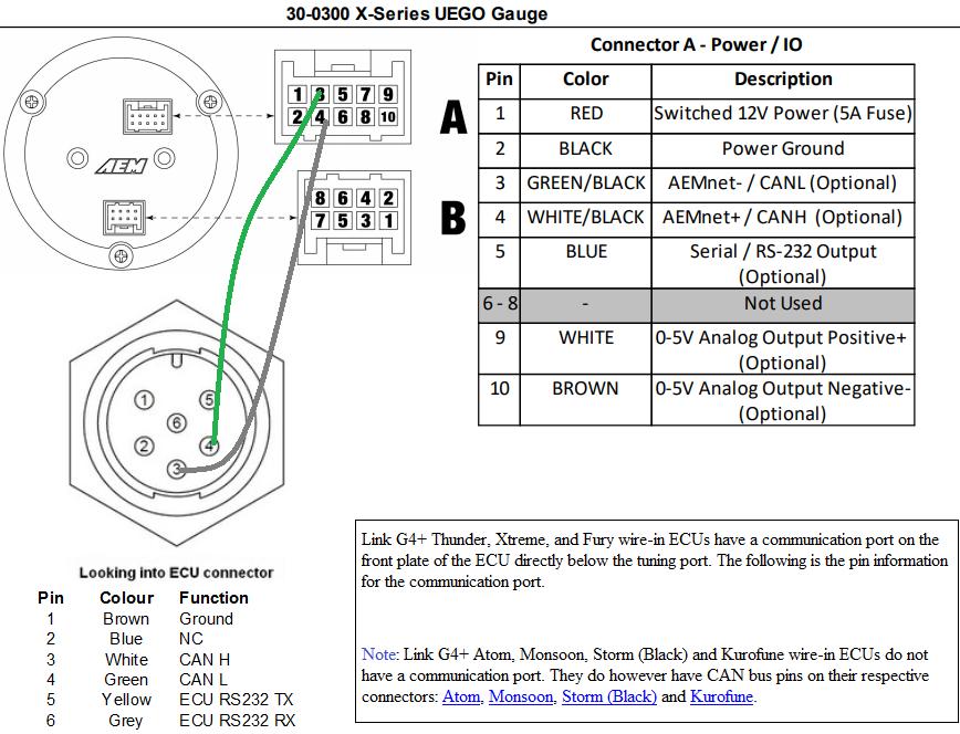 Wideband CAN AEM X Series 30-0300 - Ultimate Guide - G4+ - Link Engine  Management Forums | Aem Wideband Wiring Diagram |  | Link ECU Forums