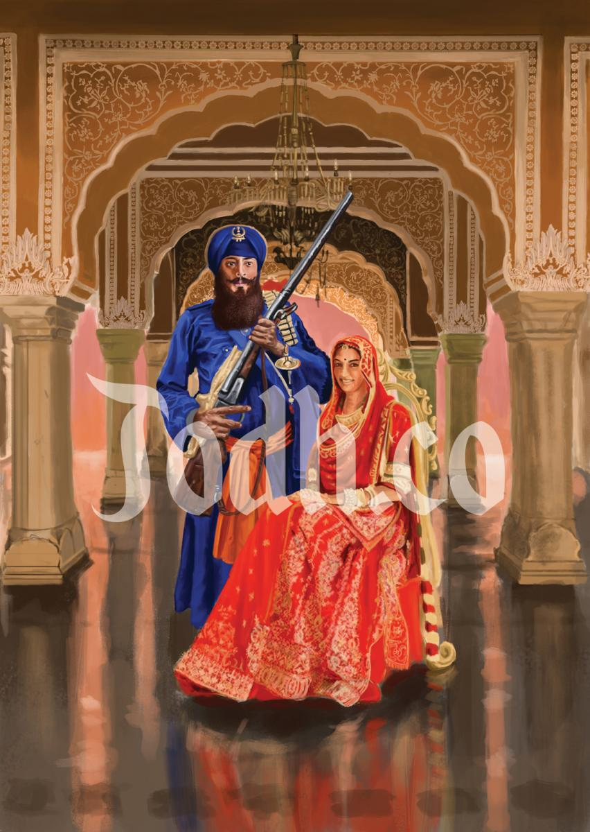 Traditional Khalsa wedding portrait.