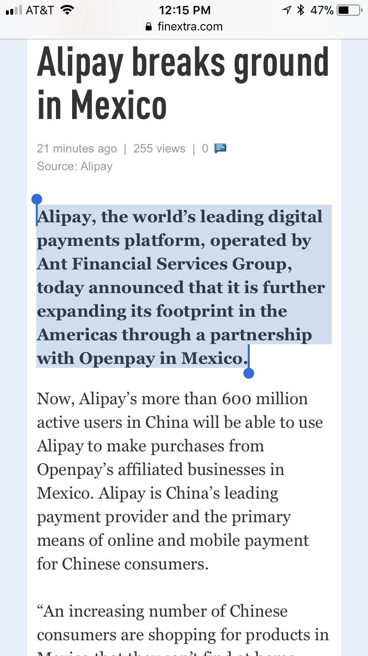 AliPay expands to Mexico through (Ripple Partner)BBVA's