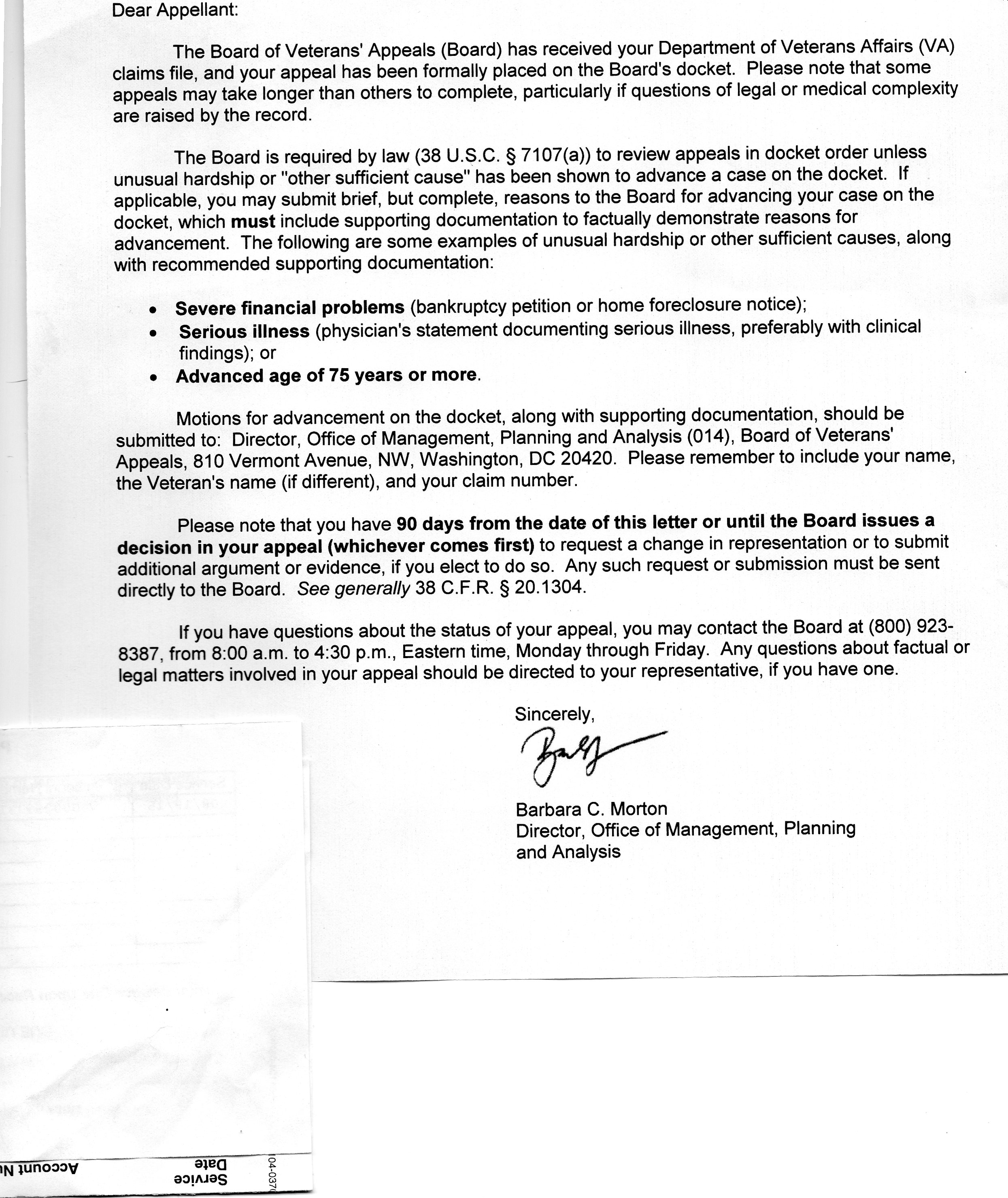 va appeal letters