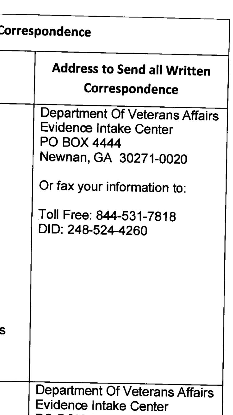 Evidence Intake center moved? - VA Disability Compensation Benefits