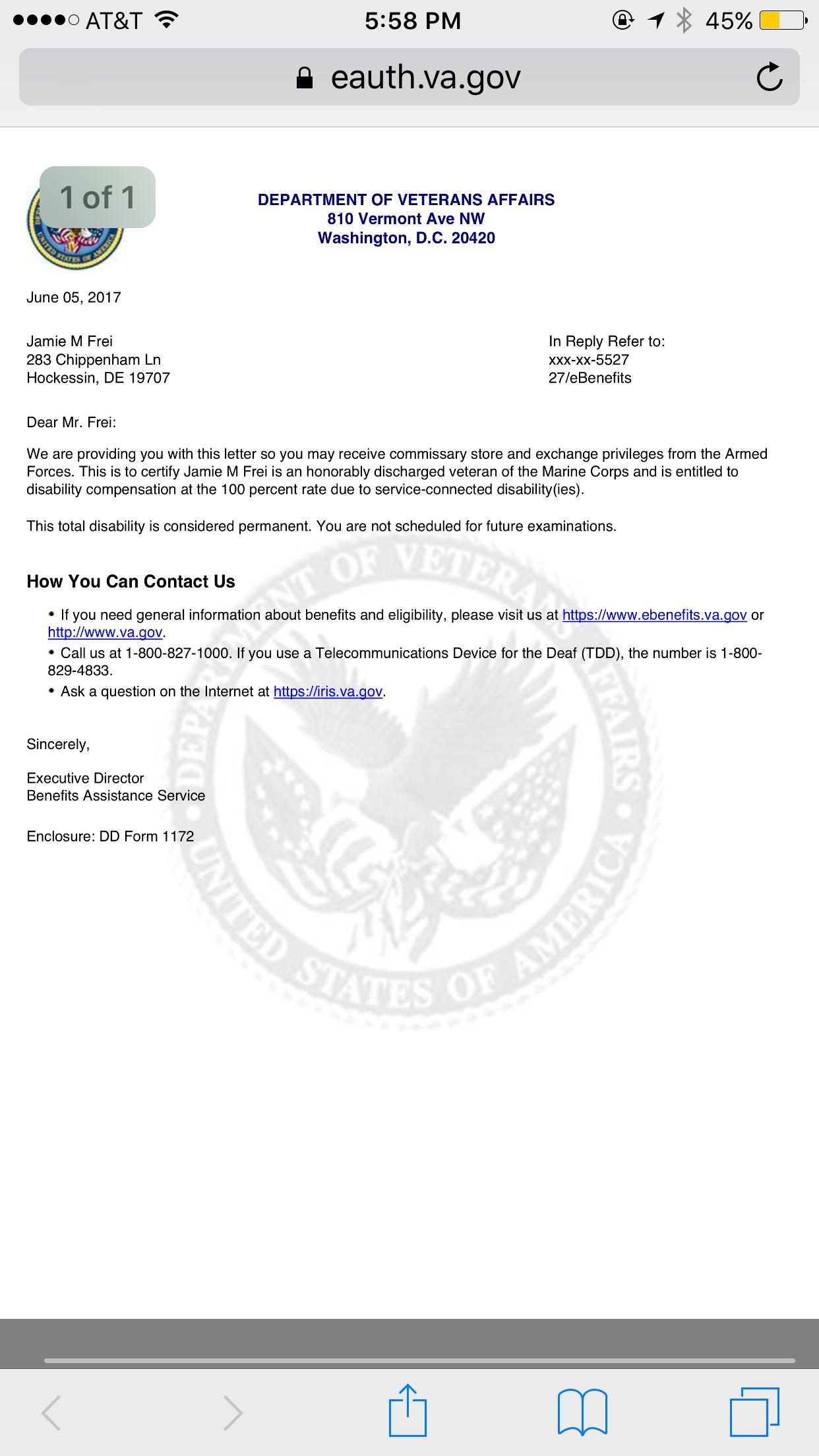 DBQ Chronic Adjustment disorder - Veterans Compensation & Pension