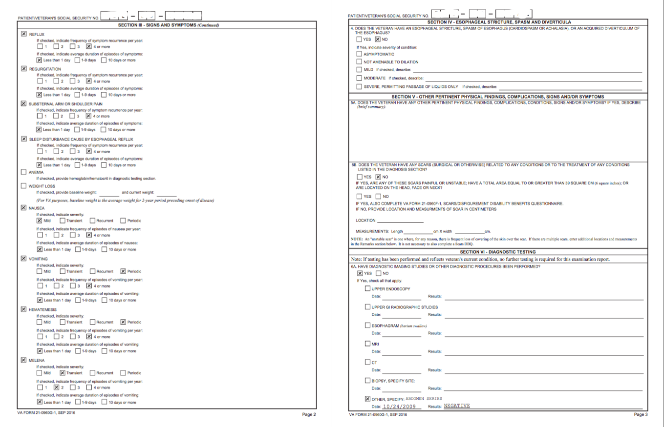 Private GERD DBQ Filled Out - VA Disability Compensation
