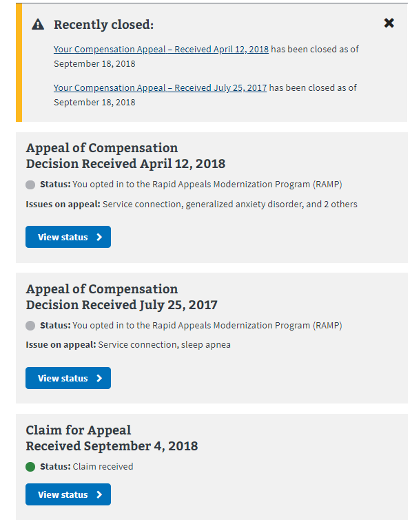 RAMP over 125 days - VA Disability Compensation Benefits Claims