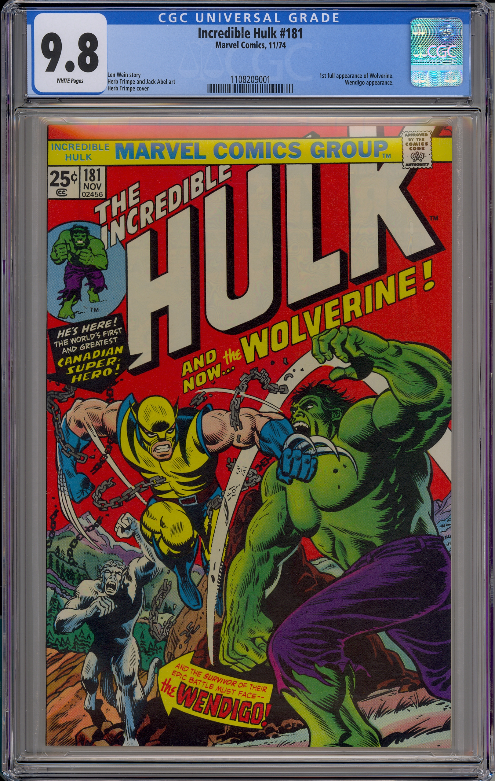 fbd75ac667f Incredible Hulk #181: (1st full appearance of Wolverine)! - CGC ...