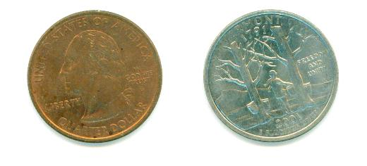 Vermont Quarter Error Coin Copper Front?? Need Help - US, World, and