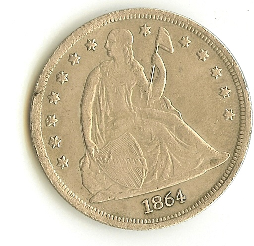Newbie with 1864 CC seated dollar and 1877 CC trade dollar