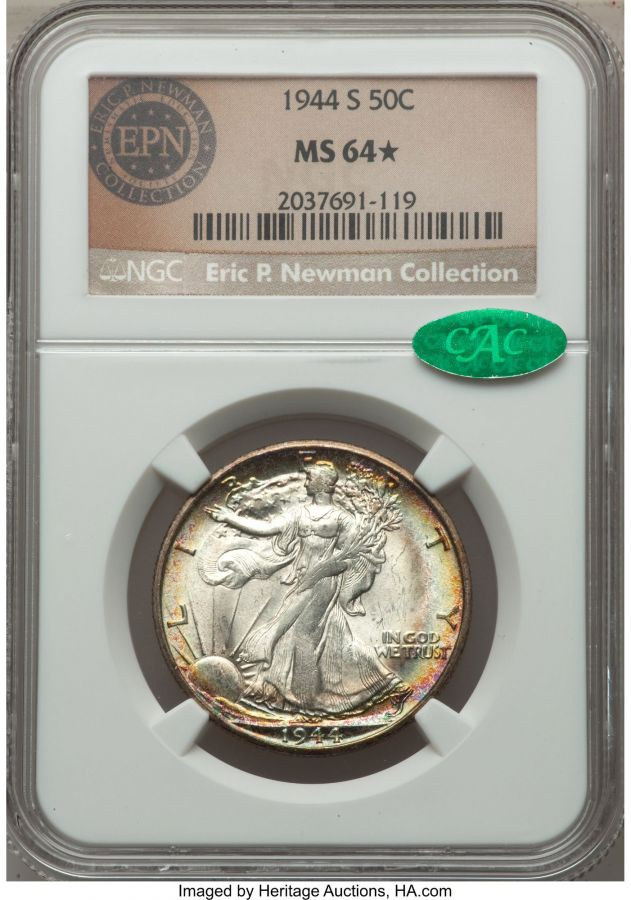 1944-S 50C Walking Lib Half Dollar MS64★ NGC CAC Eric P Newman Collection obverse.jpg
