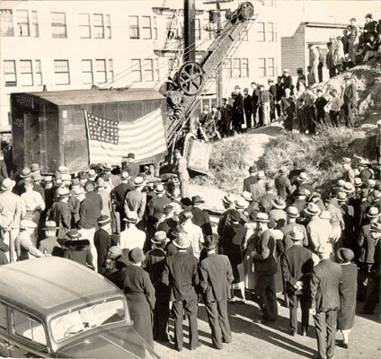 Crowd Watching Construction, Shortly after Ground Breaking_082135.jpg