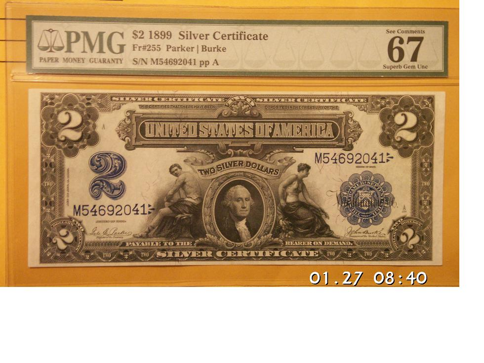 1899 Fr-255 $2 Silver Certificate PMG 67!!!!!!!!!!!!!!!!!!!!!!! - US ...