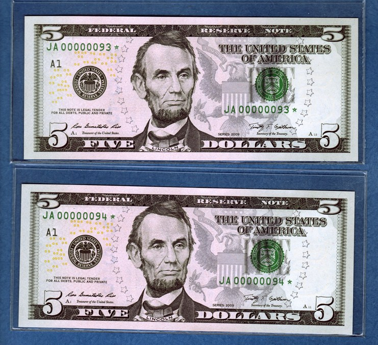 money serial number with star