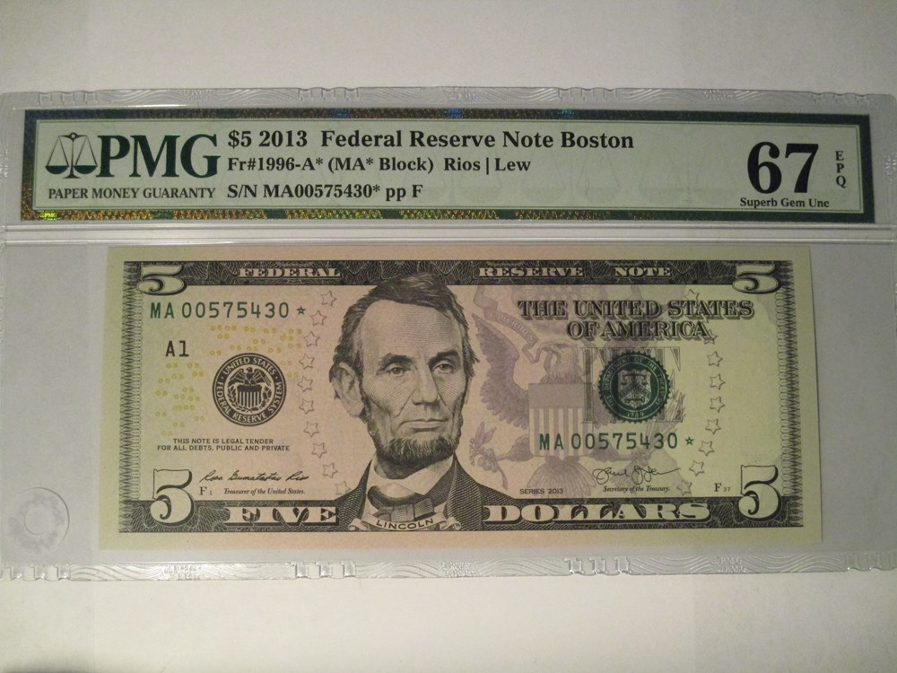 NEW 2013 5 DOLLARS NOTE