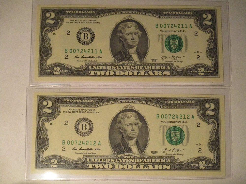 ADDING - ONES in SEPTEMBER 2016 - MORE 2013 TWO DOLLARS NOTES