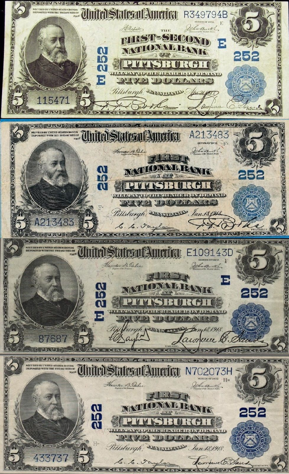 Ch # 252 Multiple Signatures for $5 Note