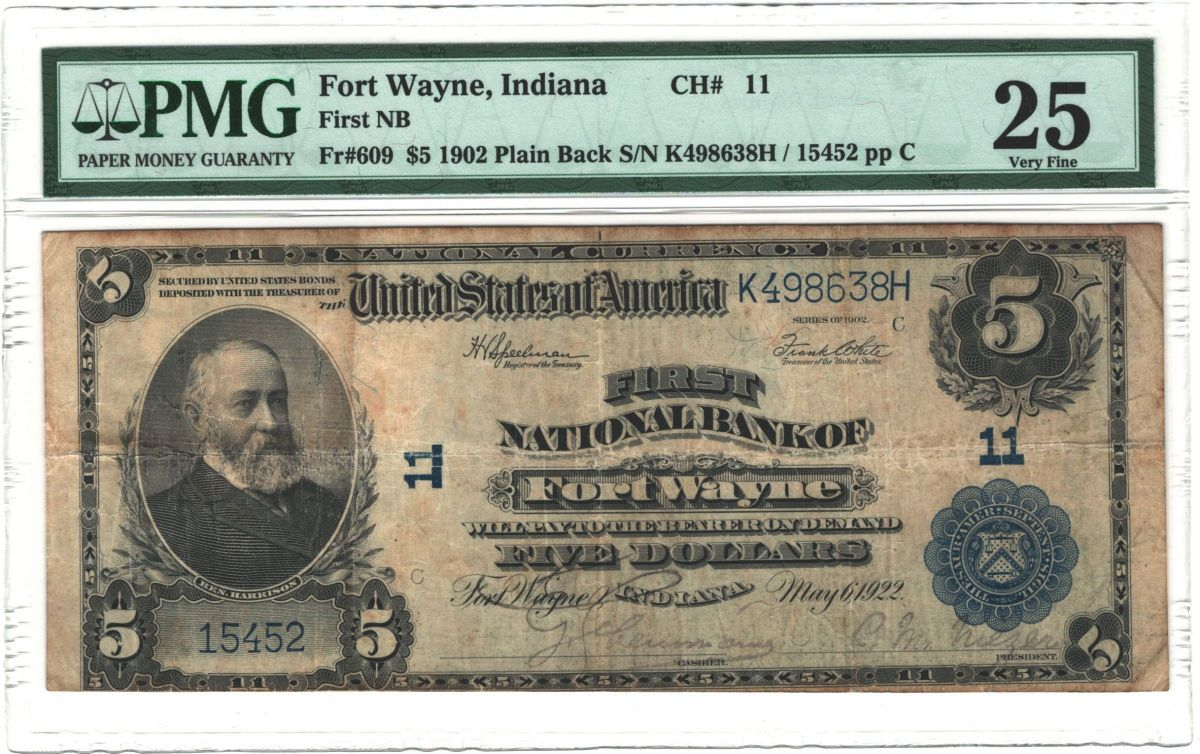Nat'l $5 1902 PB Fr. 609 Fort Wayne, IN First NB Ch. # 11_PMG25_Obv.jpg