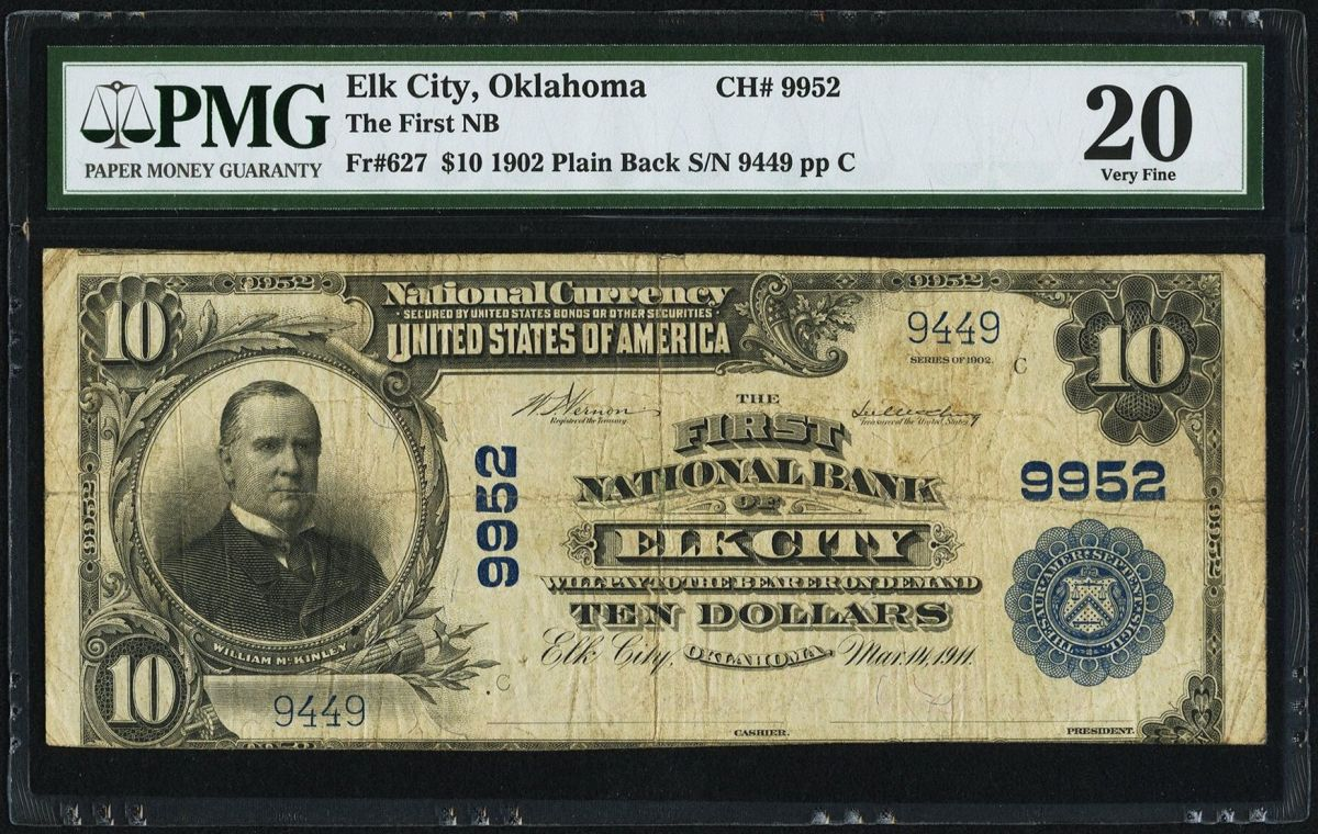 Nat'l $10 1902 PB Fr. 627 Elk City, OK The First NB Ch. # 9952_Radar9449_PMG20_Obv.jpg