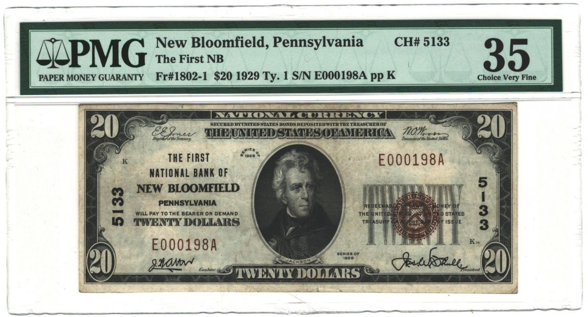 Nat'l $20 1929 Ty. 1 New Bloomfield, PA The First NB Ch. # 5133_PMG35_Obv.jpg