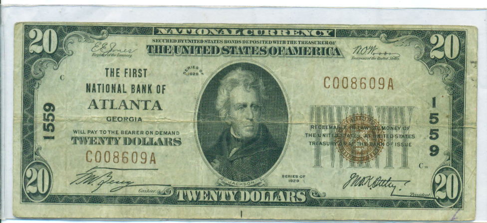 Nat'l $20 1929 Ty. 1 Atlanta, GA The First NB Ch. # 1559_REPLACEMENT_F_Obv.png