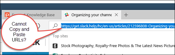 Cannot Copy and Paste URL from Address Bar in Microsoft Edge