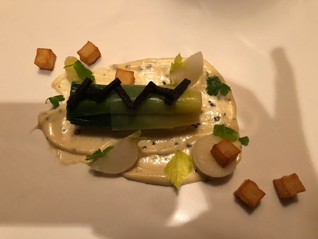 Chilled Baby Leeks with Black Truffle Remoulade