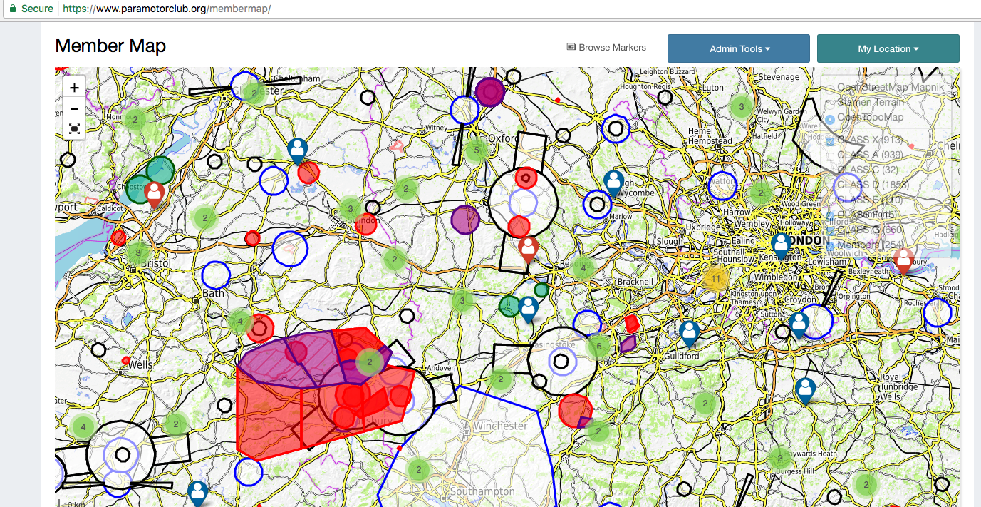 Members Map Now Includes UK Airspace General Paramotor - Class g airspace map
