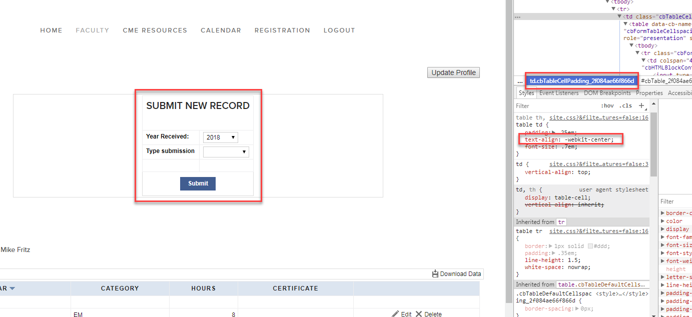 Identifying correct caspioform CSS identifier to customize
