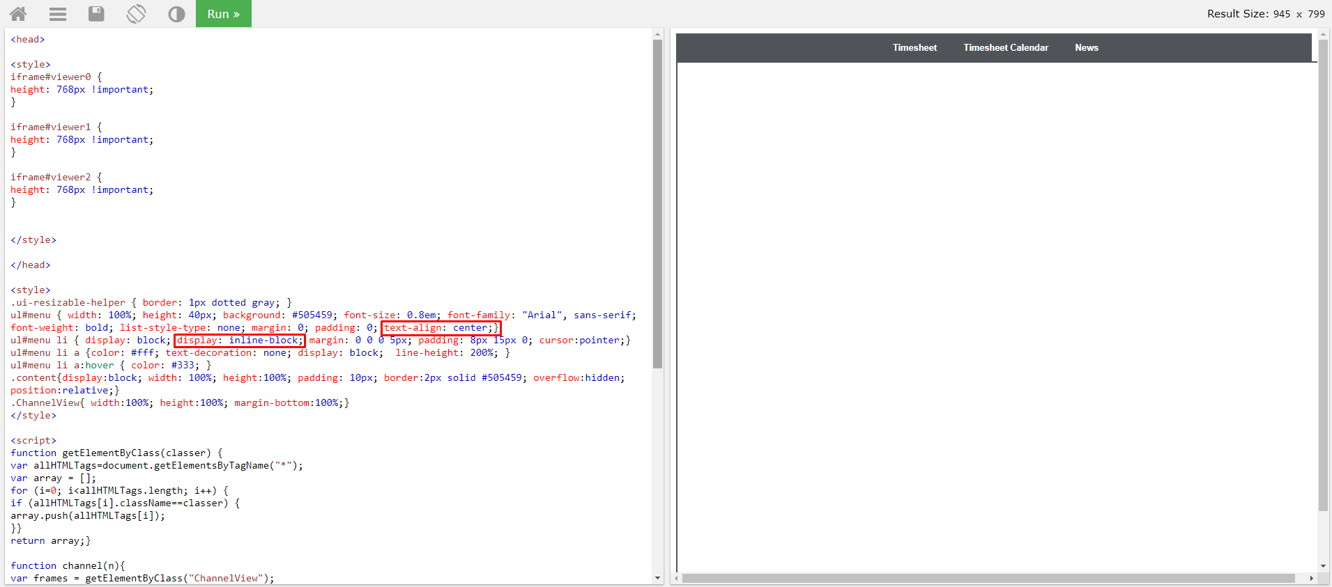Centering Tabs in Embeddable Tabbed Display - User JavaScript and
