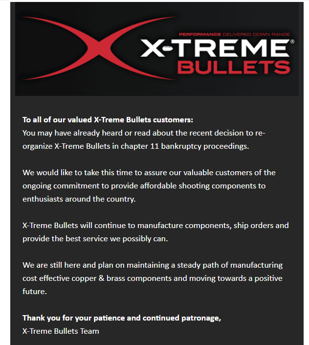 X-Treme Bullets Currently not accepting brass shipments