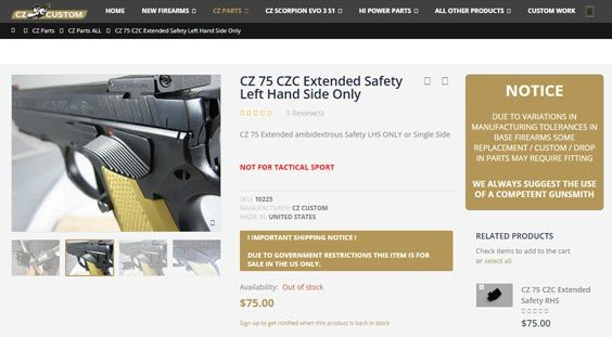 CZ 75b extended safety - CZ - Brian Enos's Forums    Maku mozo!