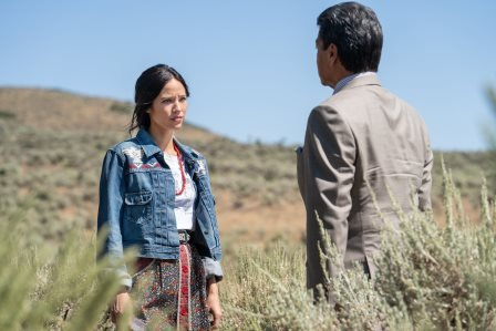 "(L-R) Kelsey Asbille as Monica Dutton and Gil Birmingham as Thomas Rainwater season 3 Episode 6 of Yellowstone - ""All for Nothing"".jpg"