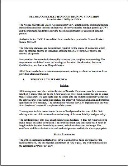 Nvsca Training And Instructor Standards Nv Cfp Nevada Concealed
